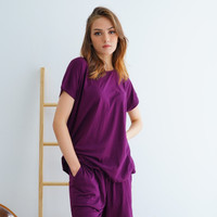 Set Piyama Wanita Polos bahan Kaos Katun Celana Pendek Seruni Living