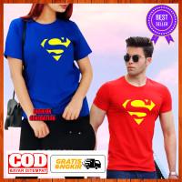 Baju Kaos Superman Superhero Dewasa Wanita Pria Katun Size S M L XL