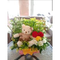 Rangkaian Bunga Artificial Matahari Plastik Bunga Meja Teddy Bear Baju