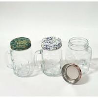 Gelas drink jar mug mason 120ml tutup motif