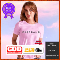 Baju Kaos Tshirt Distro Giordano Pria Wanita Warna Pink Pendek L - Pink, S