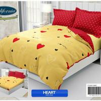 Bedcover flat california 180/king motif heart/hati warna kuning/merah