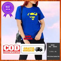 Superman Hitam Baju/Kaos Atasan Distro Murah Wanita Cewek l Size Fit L - Biru BCA, S