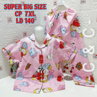 Baju tidur piyama cp(7XL)LD 140/extra super jumbo/bahan katun micro - Bt2i pink, 7XL