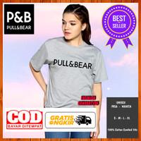 Baju Kaos Pull Bear Logo PNB Non Original Wanita Pria Warna Abu Muda