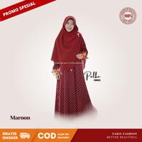FF Gamis Syar'i Monalisa Polka Series Premium Quality Lembut dan Adem - Merah