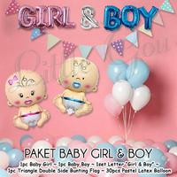 Paket Balon Baby Girl Boy Twins / Balloon Foil Baby Shower / Baby Born