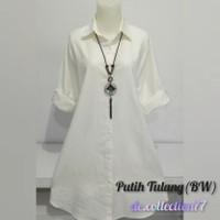 Tunik katun polos / tunik polos putih/ Baju kemeja wanita