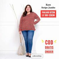 Baju Kaos Manset Garis Berwarna Oversize XXL Lengan Panjang Wanita