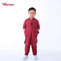 setelan baju koko anak laki laki muslim gamis cowok turki kurta lengan - MAROON, XS