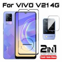 Paket Tempered Glass Full VIVO V21 4G Antigores Layar & Kamera