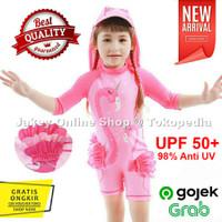 Baju Renang Anak Cewek Perempuan Usia 2-7 Motif FLAMINGO PINK + TOPI