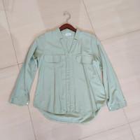 Baju Blouse Atasan Kemeja Hijau Mint Wanita Preloved Korea Import