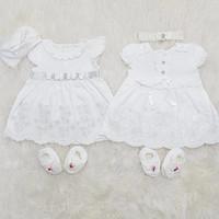 Baju Dress Bayi Perempuan Newborn Putih Set Sepatu Bandana/topi bordir