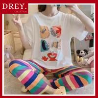 Piyama set lengan pendek oversize motif tulisan / baju tidur set - ELMO