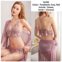 Lingerie kimono ser sexy big size baju tidur sexy lingerie kimono 95 - Purple pink