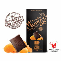 Dark Chocolate 100% & Apricot 80g  Chocolate Monggo   Coklat Diet Keto