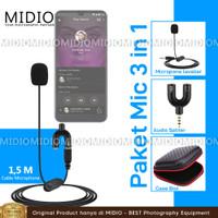 PAKET KOMPLIT Clip On Microphone 3,5mm TRS Plus Splitter U