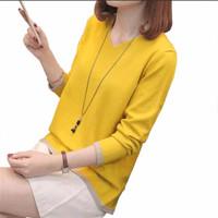 Kaos Colors Knit Rajut Baju Wanita Best Seller Shirt - 2141