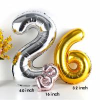 Balon Foil Angka Big Jumbo Uk. 80 cm | 1 meter | Rose Gold - Silver