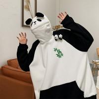 panda hoodie resleting zip lips hitam dan putih sweater jacket unisex