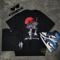 T-shirt Samurai Sakura Black / Kaos Distro / Pria / Wanita #COD