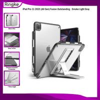 Casing Ringke iPad Pro 11 (All Gen) Fusion Soft Anti Crack FREE STAND - Smoke+LightGray