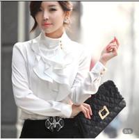 Blouse/Atasan/Kemeja/Baju Wanita lengan panjang gaya korea warna putih
