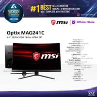 Monitor LED MSI OPTIX MAG241C 23.6 Gaming, 1ms, Frameless, 144Ghz
