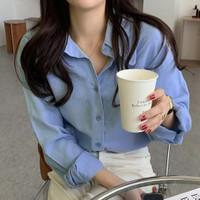 Atasan Kemeja Wanita Soft Blue Casual Formal Shirt Top Biru Muda CMS
