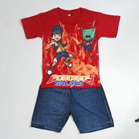 Setelan Baju Anak Laki Laki Karakter Boboiboy Usia 5-8 Tahun