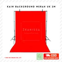 Kain Background Backdrop Foto studio sekolah polos merah 2 m meter