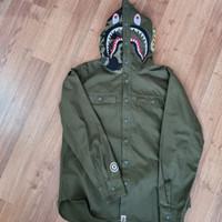 BAPE flannel shark hoodie shirt