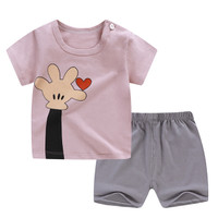 Baju Setelan Anak Lengan Pendek dan Celana Pendek UNISEX 02 - Love Nude Pink, 73