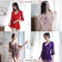 Lingerie Sexy Baju Tidur Wanita Dress+Outer Piyama Model Kimono LR24