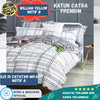 Sprei Bad cover Set 180x200 Katun Catra Premium Motif Hawai Abu