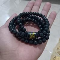 kalung tasbih batu giok black jade bandul naga emas original import