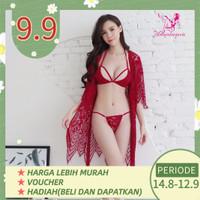 Lingerie Baju tidur sexy cardigan+bra+cd 1158