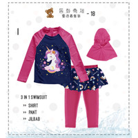 Baju Renang Anak Perempuan Muslim Celana Rok 3 in 1 Unicorn Fushia Nav