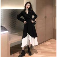 Dress Wanita Musim Semi / Gugur One Piece Ukuran Besar 100kg 2020 - Hitam, M