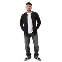 iNeat Marshall Jacket Basic Bomber Jaket Slimfit Polos - Hitam, S
