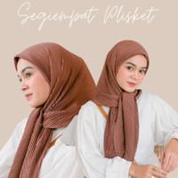 Hijab Segi Empat Plisket Square Pleats Kerudung Segiempat Polos Lidi