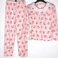 Baju Tidur Wanita Set Piyama Setelan Import Motif Renda 2 PP - Peach Pink, L
