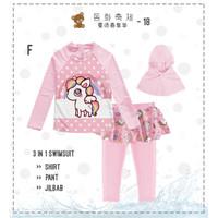 Baju Renang Anak Perempuan Muslim Celana Rok 3 in 1 Unicorn Star Pink