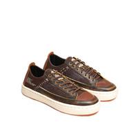 Sepatu Sneakers Kulit Pria Exodos57 Gennaios Bross Brown