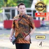 Batik Pria Premium Lengan Pendek Baju Kemeja Batik Aluna Solo PD011