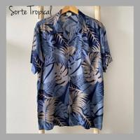 Kemeja Hawaiian Shirt Grey Tropical - XS