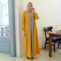 ZOE MAXI dress gamis murah baju hijab fashion muslim wanita - Kuning, L