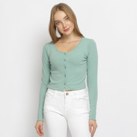ILLONA baju atasan wanita kancing bahan knit top lengan panjang