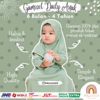 Baju Gamis Dress Muslim Set Hijab Pakaian Anak Bayi Balita Perempuan - Soft Green, 6 Bulan